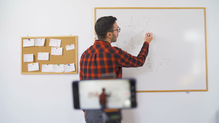 Math professor holding online class for e-learning school kids and students Royalty-Free Stock Footage #1059485354