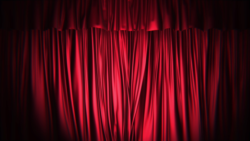 Realistic dark 3D animation of the red stage curtains rendered in UHD, alpha matte is included  Royalty-Free Stock Footage #1059492227