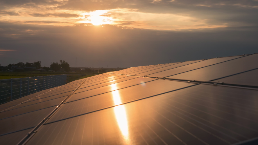 Time-lapse 4K large industrial Solar Energy Farm producing concentrated solar power day to night.Green energy concept. | Shutterstock HD Video #1059501440