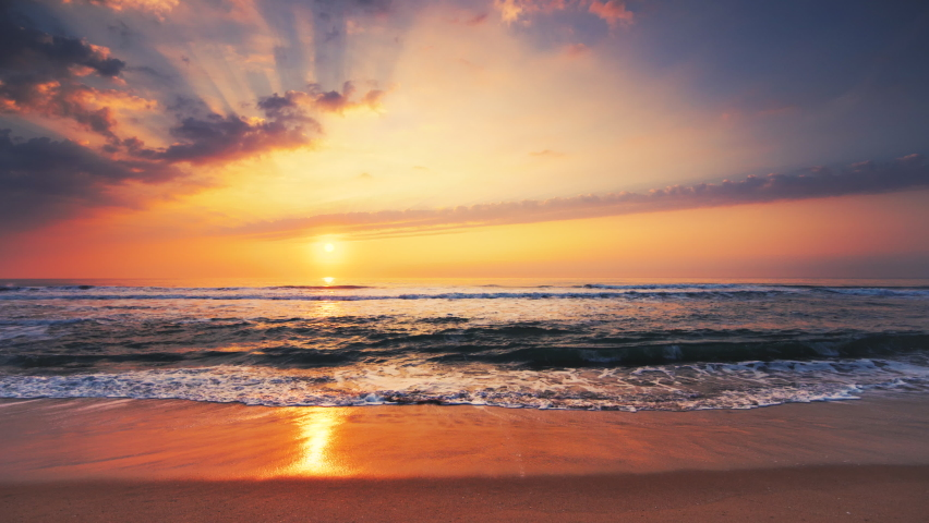 Tropical sea sunrise and waves on exotic beach.   Shutterstock HD Video #1059502865
