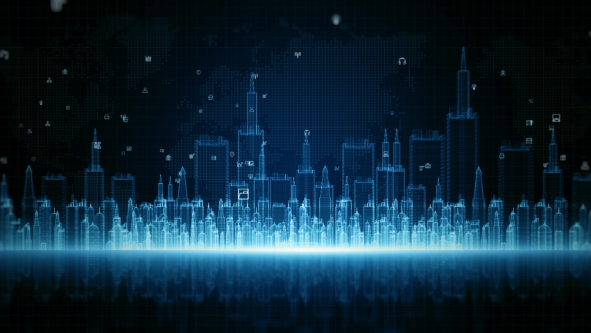 Smart City Digital Cyberspace, Digital Data Network Connections, Global Communication 5g High-Speed Internet Connection, Data Analysis Technology Digital Background Concept. Royalty-Free Stock Footage #1059505547