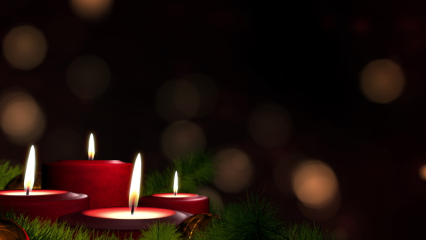 Romantic festive Christmas holiday evening. Four lit red candles on indoor Advent wreath. Romantic festive candlelight with tranquil bokeh lights and dark copy space. Looped 3D animation background. | Shutterstock HD Video #1059534791