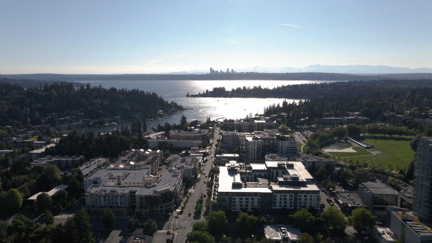 Breathtaking Aerial View of Lake Washington Over Bellevue with Seattle Skyline Background