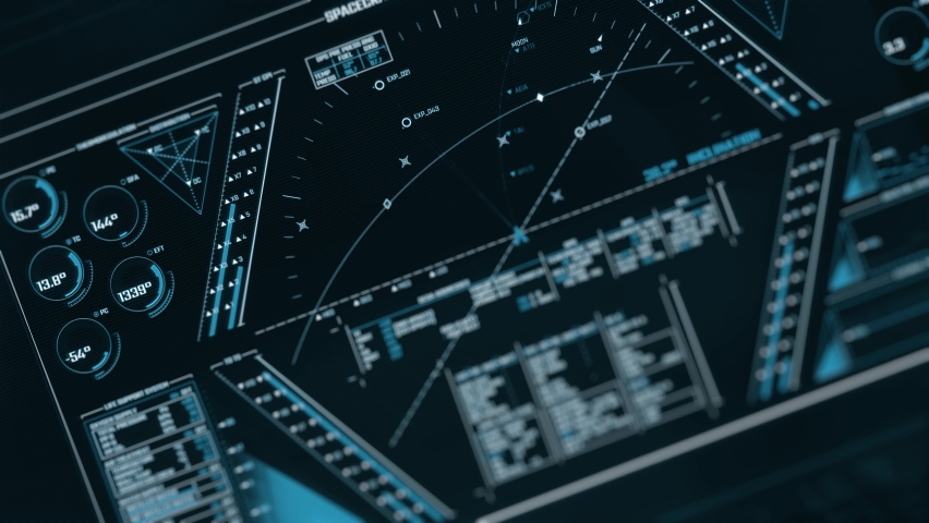Futuristic interface. Ultra detailed abstract digital background. Blinking and switching indicators and statuses. Work of command center, processing big data. | Shutterstock HD Video #1059540563