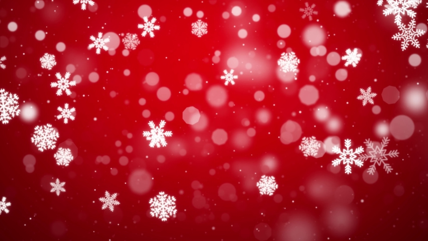 White confetti snowflakes and bokeh lights on the Red loop 4k 3D background. 2020 New year, merry christmas, Holiday, winter, New Year, snowflake, snow, festive snow flakes