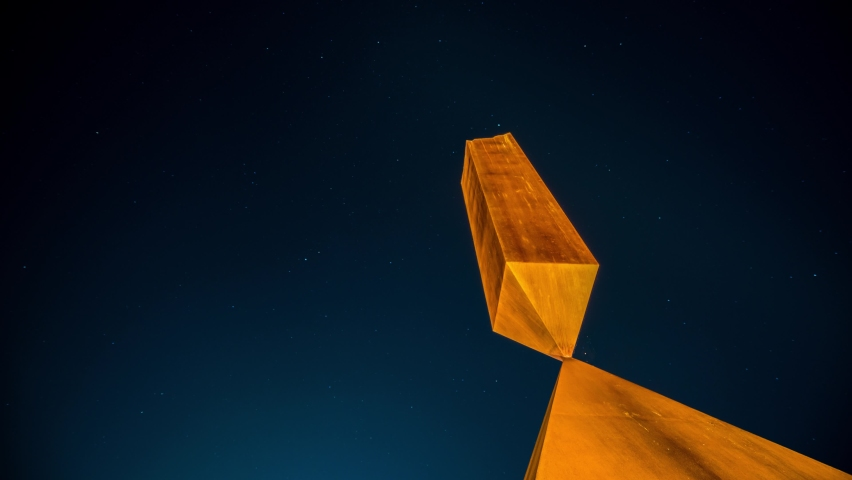 Time-lapse of star trails at the Broken Obelisk in the University of Washington.