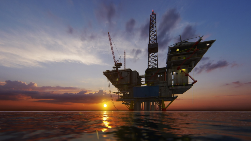 Helicopter flying from oil rig platform towards magical sunset, 4K Royalty-Free Stock Footage #1059559643