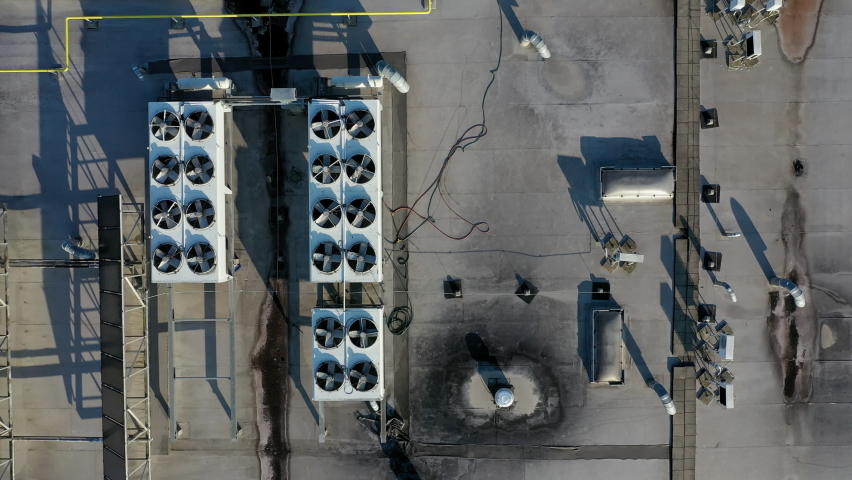 Industrial airconditioning on top of an office building. Top down aerial shot.