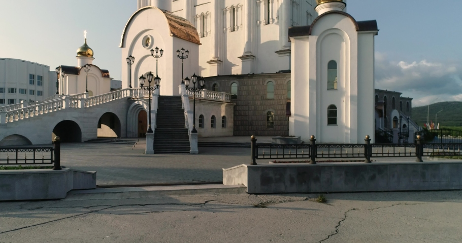 Newest cathedral church in Magadan, Russia. sunset. | Shutterstock HD Video #1059574817