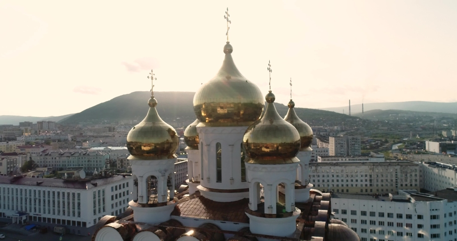 Newest cathedral church in Magadan, Russia. sunset. | Shutterstock HD Video #1059574826