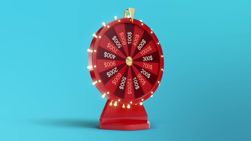 Rotating red wheel of luck or fortune. Won a thousand dollars. Gambling, lottery. Wheel of fortune with Luma channel. 3840x2160, 4K 3D animation | Shutterstock HD Video #1059581924