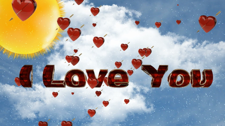 Flying red hearts and the inscription I love you | Shutterstock HD Video #1059582437