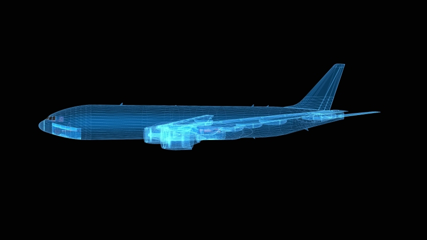 Plane 3d wireframe with thin blue lines. Aviation futuristic hologram on black background. Loop animation | Shutterstock HD Video #1059586589