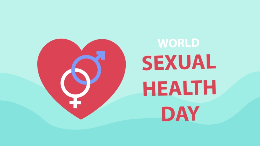 Close up of red heart and gender symbol animation with text of world sexual health day. Shot in 4k resolution | Shutterstock HD Video #1059587378