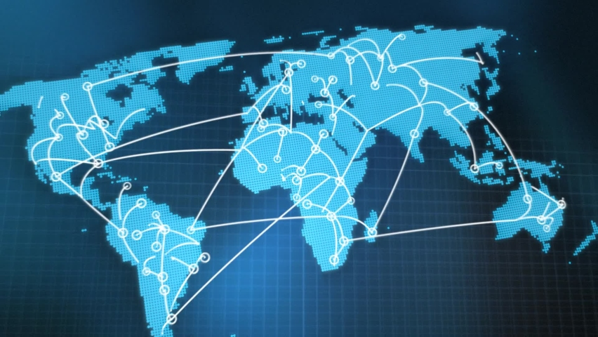 Zoom out animation of a world map with interconnected links from the Synergy collection - Lower Third Video Element. Royalty-Free Stock Footage #1059594434