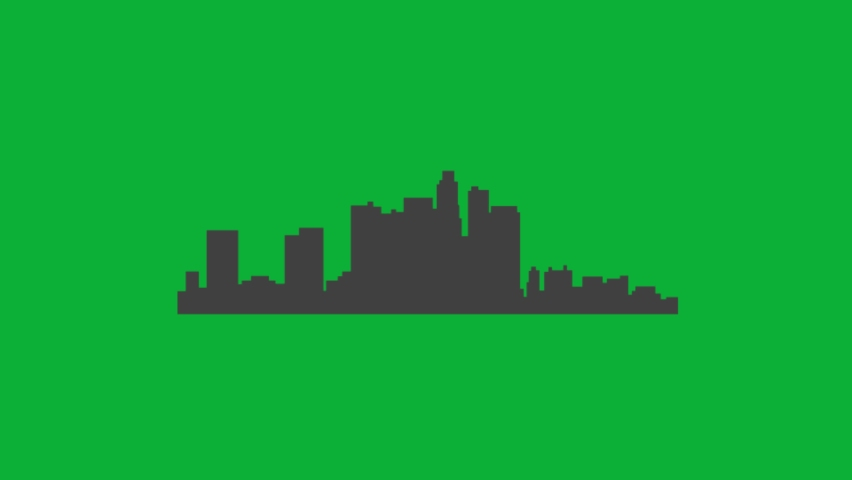 Los Angeles city Skyline silhouette - Animated cartoon vector Sign on Green screen background - California - Los Angeles City skyline on Chroma key background