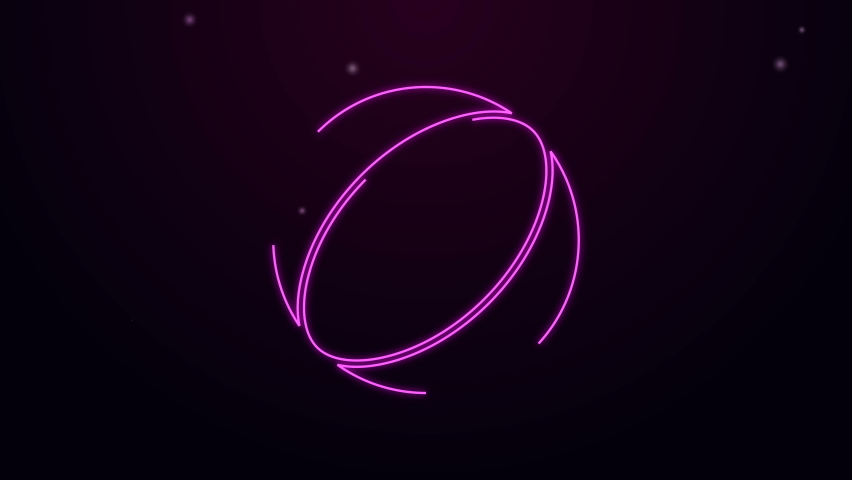 Glowing neon line Beach ball icon isolated on purple background. 4K Video motion graphic animation