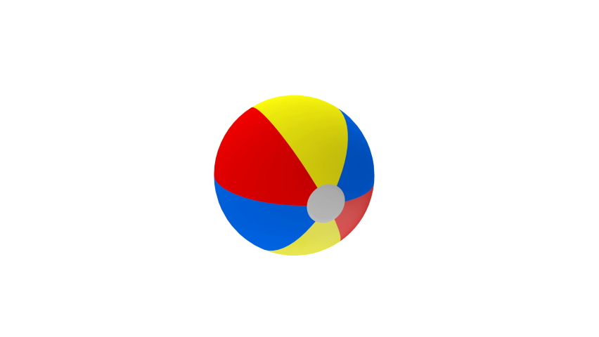 3D animation of rotation of a colorful beach ball isolated on white background. Alpha channel. 4K resolution.