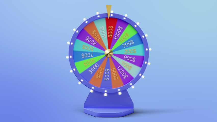 Rotating colorful wheel of luck or fortune. Front view, roulette fortune spinning wheels, casino wheel. Colorful Wheel fortune with alpha channel. 3840x2160 4K 3D animation