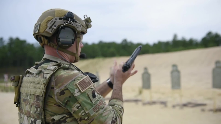 CIRCA 2020 621st Mobility Support Operations Squadron firing range for weapons qualification at Joint Base McGuire-Dix-Lakehurst, NJ. | Shutterstock HD Video #1059601208