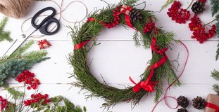 Timelapse tutorial: how to make easy Christmas wreath at home of blueberry branches. Step by step video instruction. DIY art project. Stop motion.