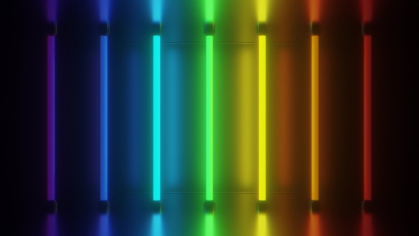 Retro Rainbow Neon Lights Tubes Glow Futuristic Bright Reflections - 4K Seamless Loop Motion Background Animation Royalty-Free Stock Footage #1059614186