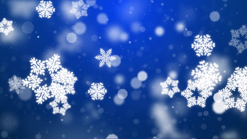 Snow falling on blue sky with Blue particles in the winter Christmas loop background merry christmas, Holiday, winter, New Year, snowflake, snow, festive, snow flakes,