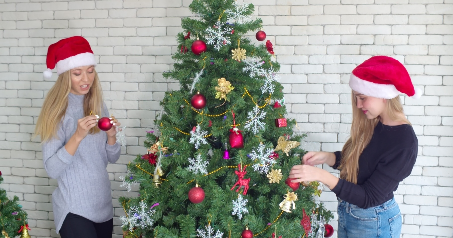 Locked shot, Joyful Pretty teenage female and lovely friend helping to decorated the pine with ornaments for Christmas season, They are talk and smile while hanging with happiness | Shutterstock HD Video #1059621494