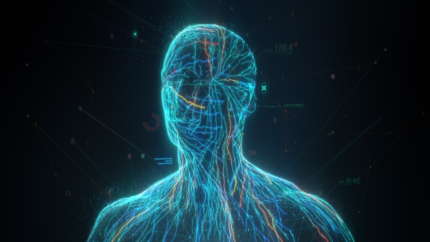 Artificial Intelligence face scanner. Facial recognition and biometric medical research concept | Shutterstock HD Video #1059629519
