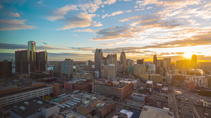 Detroit, Michigan, USA downtown cityscape time lapse. | Shutterstock HD Video #1059634820