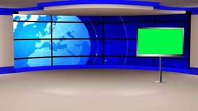 Blue colour rotating globe in background, Purple and White set with Plasma TV for News base TV Program seamless loopable HD Video