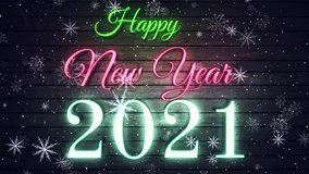 2021 Cute animation of Merry Christmas lettering 2021 Happy New Year Bright Multicolored Animation Numerals of the New Year Glowing. Colored Neon Light Form Generated Circle and Wave Digits