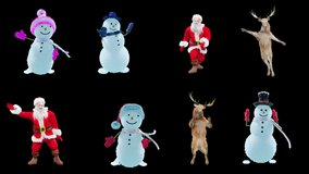 Merry christmas and happy new year, 3d rendering, Snowman, Deer,  santa claus Dancing, Animation Loop, cartoon,with Alpha Channel.