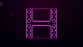 Glowing neon line Play Video icon isolated on purple background. Film strip sign. 4K Video motion graphic animation