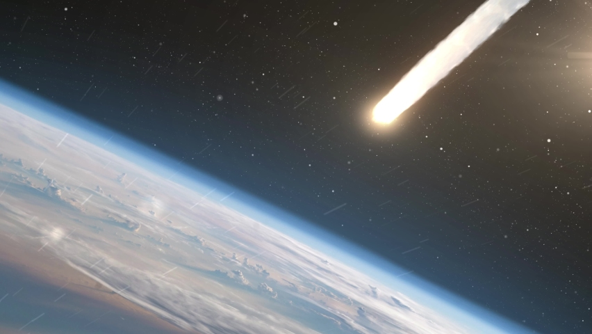 Asteroid Meteor burns in atmosphere Earth, Realistic vision Meteor burning on fire while entering earth blue atmosphere