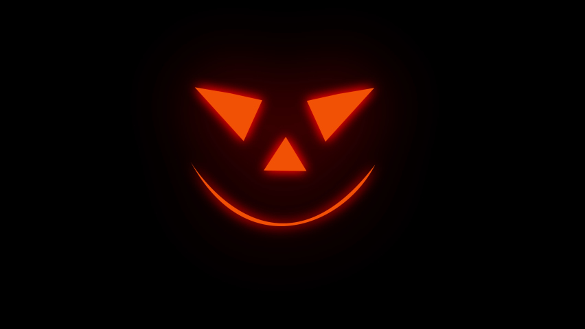 Halloween 4K animation with alpha channel. Glowing scary halloween pumpkin face animation loop or background. 4k Animated glowing demon face on transparent background. Scarry animated carving pumpkin.   Shutterstock HD Video #1059661865