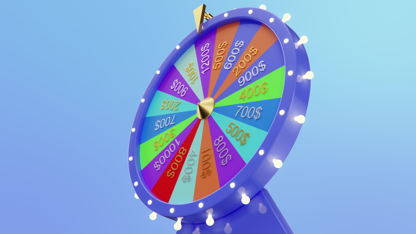 Rotating colorful wheel of luck or fortune. Front view, roulette fortune spinning wheels, casino wheel. Colorful Wheel fortune  3840x2160 4K 3D animation