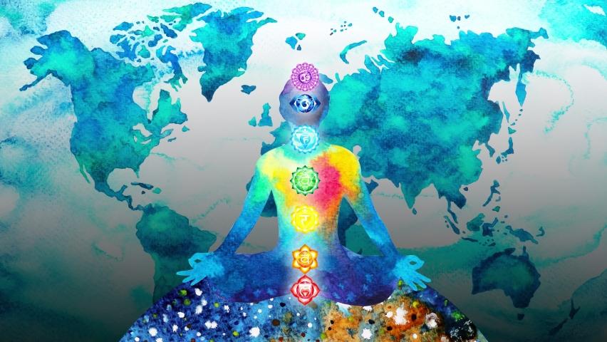 human meditation chakra mind mental spiritual yoga meditate universe world connection reiki symbol art watercolor painting illustration design stop motion ultra hd 4k animation