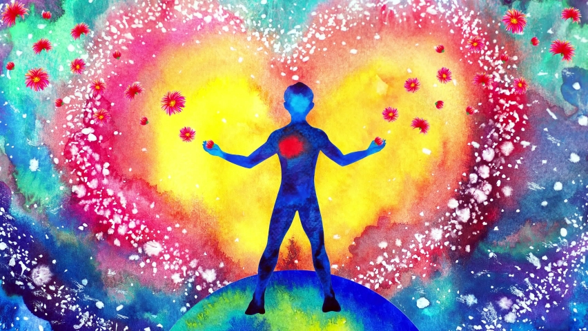 Human heart healing flower flow in universe world love spiritual mind mental health chakra power abstract soul art watercolor painting illustration design drawing stop motion ultra hd 4k animation