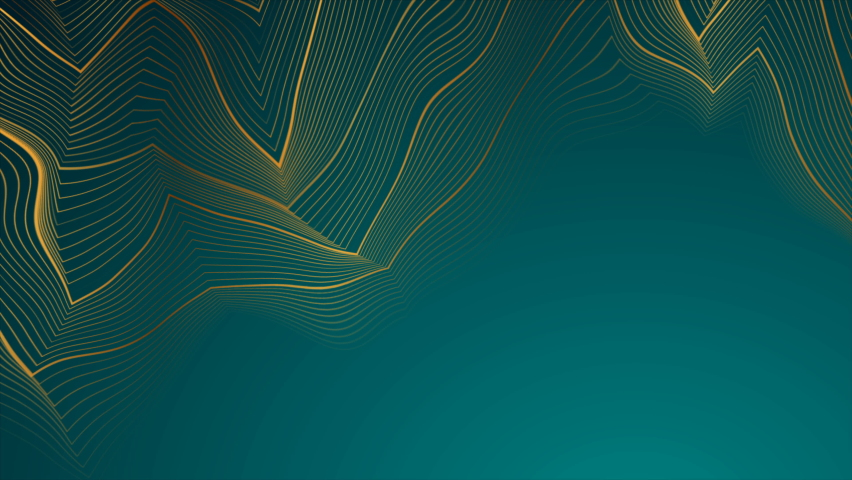 Turquoise abstract motion background with golden curved lines pattern. Art deco ornament design. . Video animation Ultra HD 4K 3840x2160 | Shutterstock HD Video #1059670763