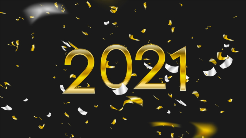 2021 golden New Year abstract motion design with confetti. Christmas greeting card background. Video animation Ultra HD 4K 3840x2160 | Shutterstock HD Video #1059670772