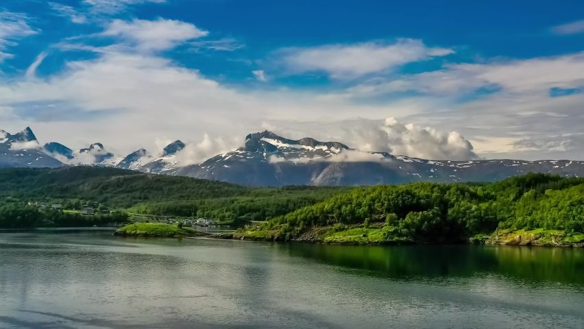 Beautiful Nature Norway natural landscape. Whirlpools of the maelstrom of Saltstraumen, Nordland, Norway Royalty-Free Stock Footage #1059684674