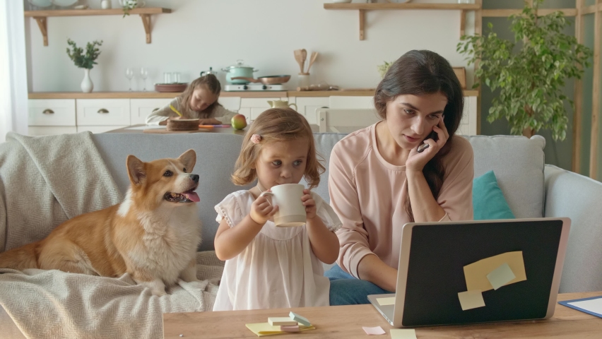 A Busy Mother Trying to Work Remotely With Her Children's at Home. The Daughter Interferes With Her Mother's Work. Working From Home During Quarantine Epidemic. Near Lying on the Couch a Cute Dog. Royalty-Free Stock Footage #1059684929
