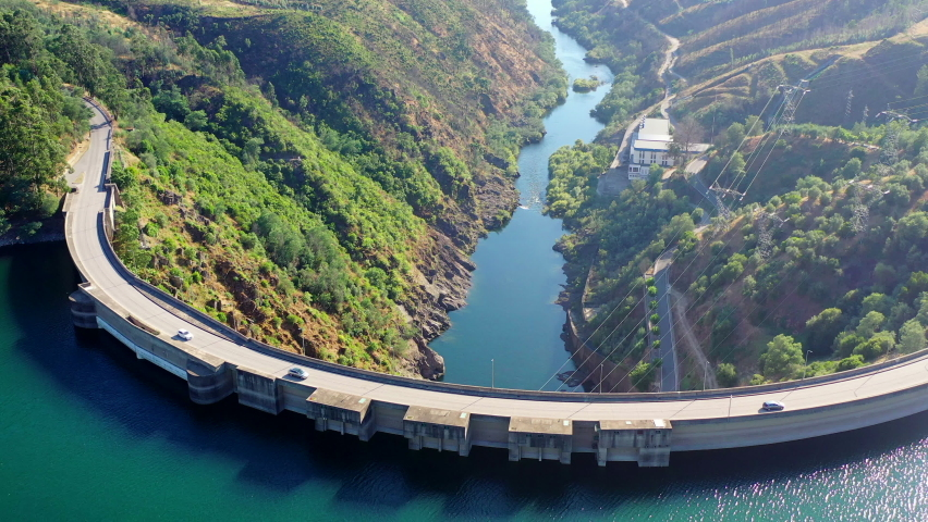 Aerial view of Castelo de Bode Dam in Tomar, Portugal Royalty-Free Stock Footage #1059692153