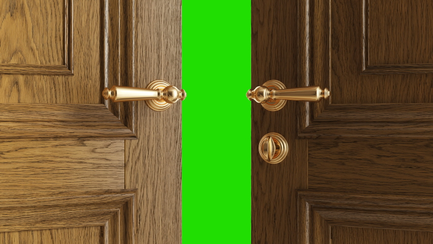 Luxury classic door opening to the white background. 4k, Animation with green chroma key. Royalty-Free Stock Footage #1059700646