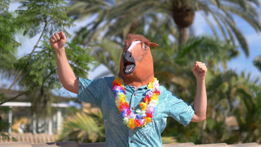Happiness in a horse mask in 4k slow motion 60fps  | Shutterstock HD Video #1059703691