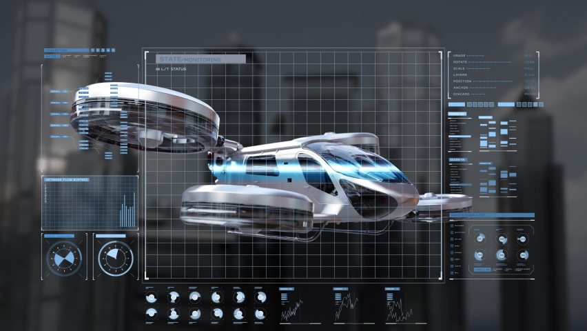 Drone taxi flying between buildings in city with user interface monitoring shot, Future transportation technology, 4k animation. Royalty-Free Stock Footage #1059709793
