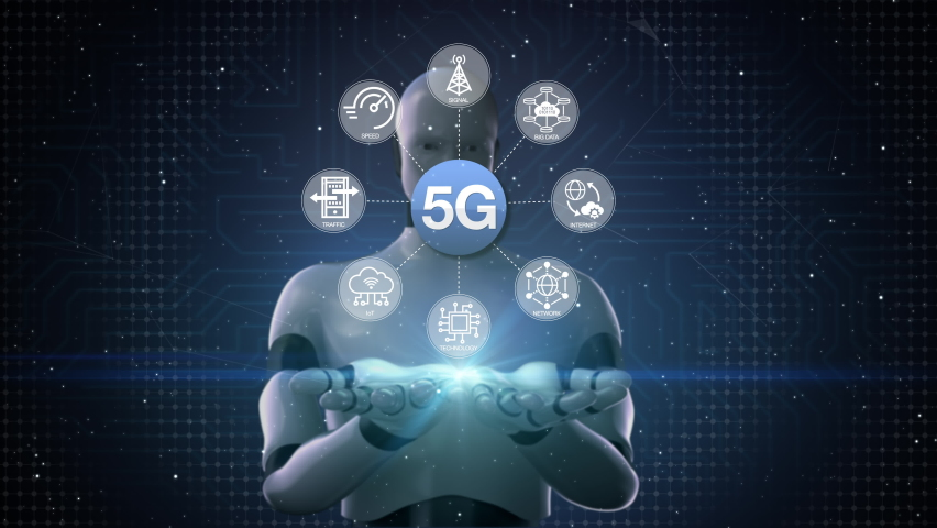 Robot opens two palms, Various 5G technology information icon. fifth generation mobile communications, 4k animation. Royalty-Free Stock Footage #1059709811