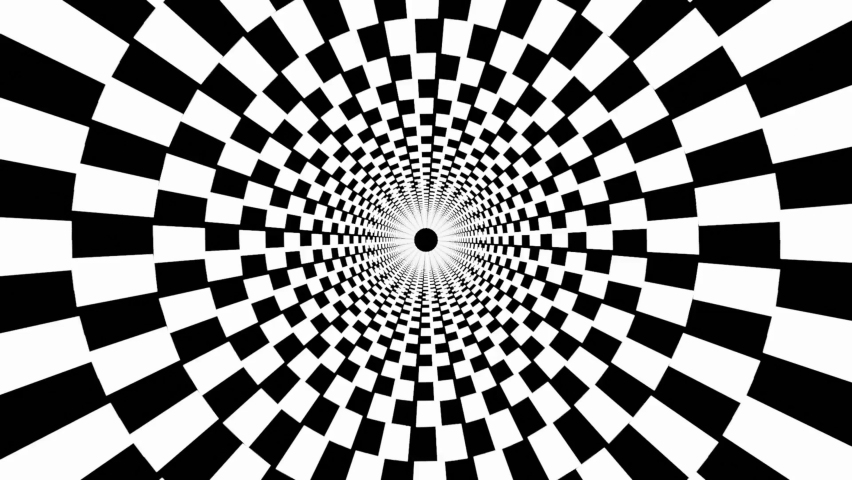 4K video of Black and white psychedelic optical illusion abstract hypnotic animated background. Spiral geometric seamless looping monochrome wallpaper.