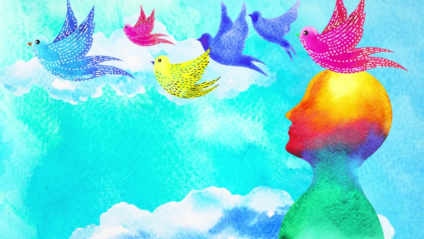 Birds flying in blue sky abstract art mind mental health spiritual healing human free freedom feeling watercolor painting illustration design drawing stop motion ultra hd 4k animation   Shutterstock HD Video #1059727325